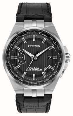 Citizen Męski świat wieczny w czarnym skórzanym rzemieniu z czarną tarczą CB0160-00E