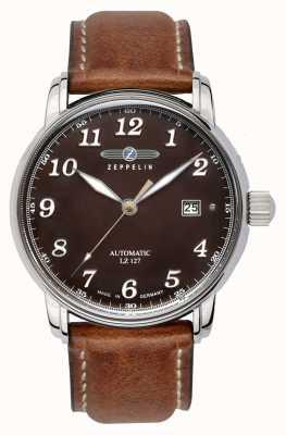 Zeppelin | seria lz127 | automatyczna data | brązowy skórzany pasek | 8656-3
