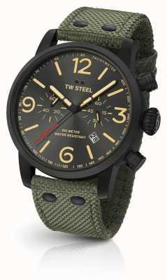 TW Steel Maverick, kaliber, chronograf, zielony, płócienny, pasek, czarna tarcza MS124