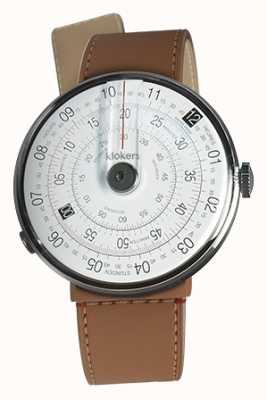 Klokers Klok 01 czarny zegarek głowa karmelowa brązowa cieśnina pojedynczy pasek KLOK-01-D2+KLINK-04-LC12