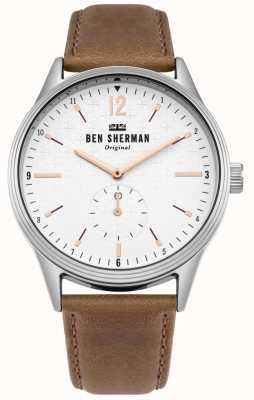 Ben Sherman Matowa biała tarcza i skórzany pasek WB015T
