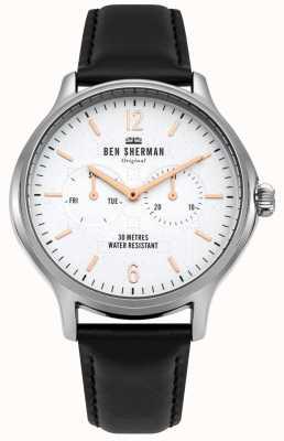 Ben Sherman Matowa biała tarcza i czarny skórzany pasek WB017B