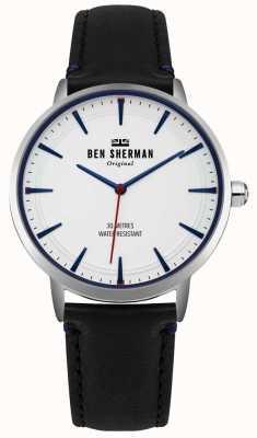 Ben Sherman Matowa biała tarcza i czarny skórzany pasek WB020B