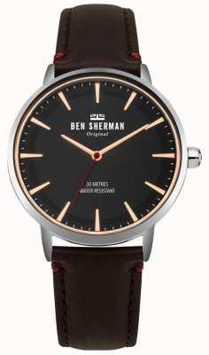 Ben Sherman Matowa czarna tarcza i brązowy skórzany pasek WB020BR