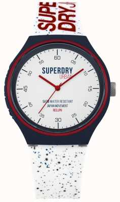 Superdry Niebieski, biały pasek silikonowy Urban Xl SYG227W