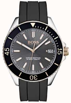 Hugo Boss Ocean edycja szara tarcza daty wyświetlacz czarny gumowy pasek 1513558