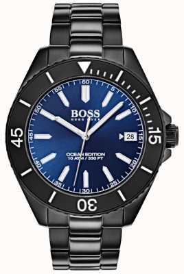 Boss Ocean edycja niebieska tarcza daty wyświetlacz czarny bransoletka IP 1513559
