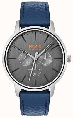 Hugo Boss Orange Szara tarcza na dzień i na dzień z niebieskim skórzanym paskiem 1550066