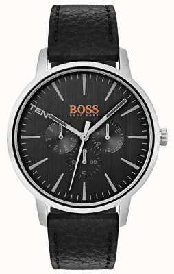 Hugo Boss Orange Czarna tarcza z datą i datą wybiera czarny skórzany pasek 1550065