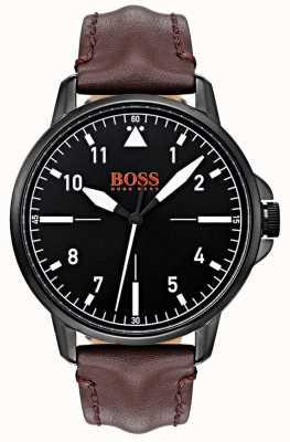 Hugo Boss Orange Czarna tarcza, ciemnobrązowy skórzany pasek, czarny pokrowiec z powłoką ip 1550062