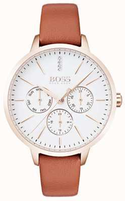 Hugo Boss Biała tarcza z datą i datą przedstawia różową, brązową skórkę 1502420