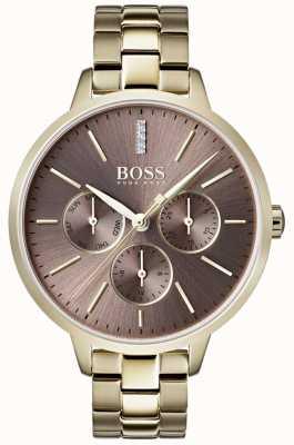 Hugo Boss Ladies symphony lilac dial day & date sub dial złoty case 1502422