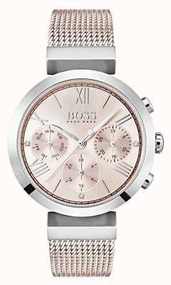 Boss Pokrętła chronografu z różowym wybieraniem dnia i daty 1502426