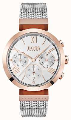 Hugo Boss Srebrna tarcza dzień i data wyświetlają rzymską bransoletę z cyframi 1502427