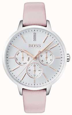 Hugo Boss Srebrna tarcza dzień i data sub dial kryształ zestaw różowa skóra 1502419