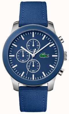Lacoste Mężczyzna 12.12 chronograf niebieska tarcza niebieski nylonowy pasek 2010945