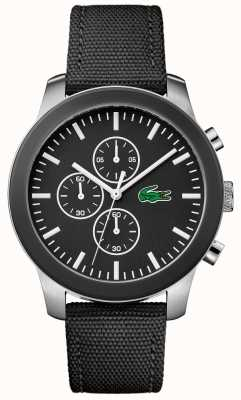 Lacoste Mężczyzna 12.12 chronograf czarny wybierania czarny pasek nylonowy 2010950