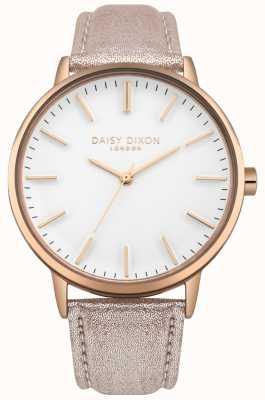 Daisy Dixon Panie harper biały wybierania różowego złota skórzany pasek sprawa przypadku DD061CRG
