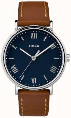 Timex Męskie southview 41mm skórzany pasek w kolorze niebieskim tarcza TW2R63900D7PF