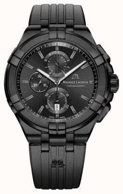 Maurice Lacroix Aikon, czarny zegarek z chronografem kwarcowym AI1018-PVB01-333-1