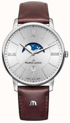 Maurice Lacroix Mens eliros moonfase brązowy skórzany pasek srebrna tarcza EL1108-SS001-110-1