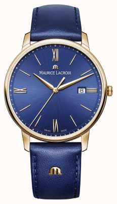 Maurice Lacroix Mens eliros pozłacane koperta skórzany pasek niebieski EL1118-PVP01-411-1
