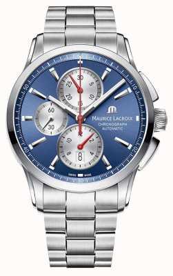 Maurice Lacroix Męskie zegarki z niebieską tarczą chronograf ze stali nierdzewnej PT6388-SS002-430-1