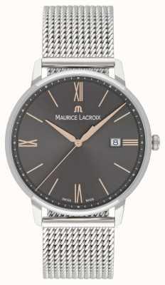 Maurice Lacroix Męska bransoletka z siatki eliros, czarna tarcza ze złotymi akcentami EL1118-SS002-311-1
