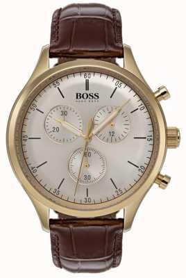 Boss Męski zegarek chronograf z brązowym skórzanym paskiem 1513545