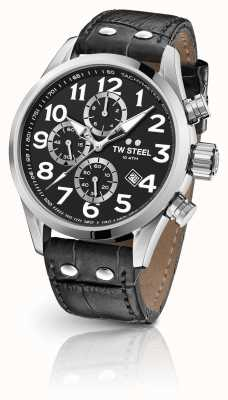 TW Steel Czarny skórzany pasek chronograf Volante 48 mm VS54
