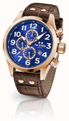TW Steel Volante 45mm chronograf brązowy skórzany pasek z niebieską tarczą VS83
