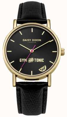 Daisy Dixon Damska gym & tonic blaire czarny skórzany pasek czarna tarcza DD079BG
