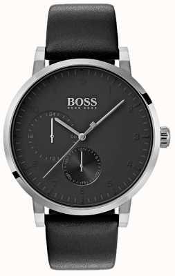 Boss Męski tlen wszystko czarny zegarek skórzany pasek sunray tarcza 1513594