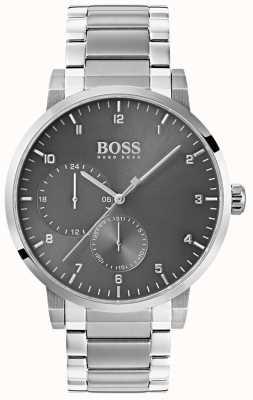 Boss Męski zegarek z szarym tlenem bransoleta ze stali nierdzewnej z tarczą słoneczną 1513596