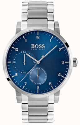 Boss Zegarek męski niebieski ze stali nierdzewnej bransoleta z tarczą słoneczną 1513597