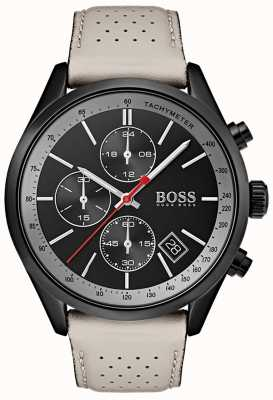 Boss Męski zegarek grand-prix czarny chronograf szary skórzany pasek 1513562