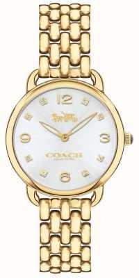 Coach Zegarek damski delancey slim złoty zegarek srebrny tarcza 14502782