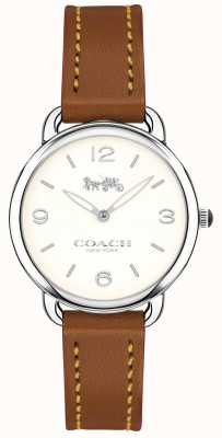 Coach Womens delancey slim brązowy skórzany pasek zegarka biała tarcza 14502789