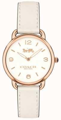Coach Womens delancey slim biały skórzany pasek zegarka biała tarcza 14502790