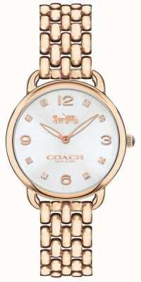 Coach Damska delancey slim rose bransoletka zegarek srebrny tarcza 14502783