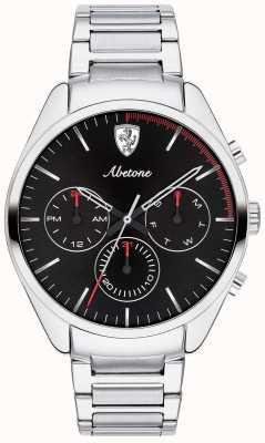 Scuderia Ferrari Bransoletka zegarmistrzowska ze stali nierdzewnej z czarnym zegarem 0830505