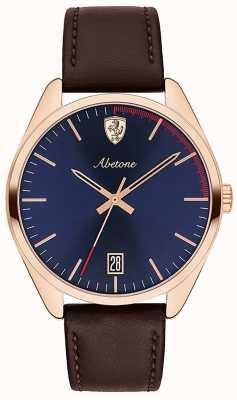 Scuderia Ferrari Męski zegarek z brązowego skórzanego paska zegarka z niebieską tarczą 0830500