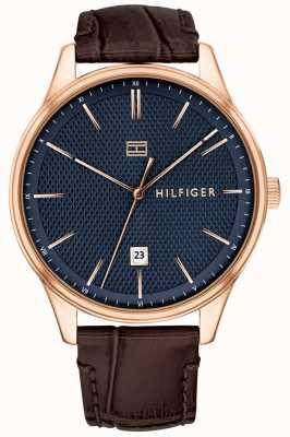 Tommy Hilfiger Męski damon zegarek brązowy skórzany pasek niebieska tarcza 1791493