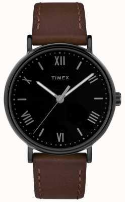 Timex Męskie southview 41mm brązowy skórzany pasek czarna tarcza TW2R80300D7PF