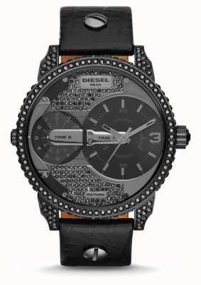 Diesel Zegarek męski mini tatuś czarny skórzany pasek DZ7328