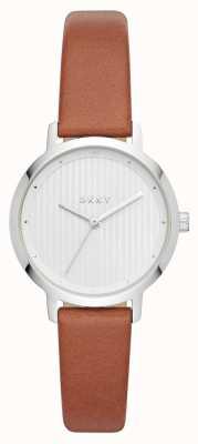 DKNY Damski modernistyczny skórzany pasek w stylu zegarka NY2676