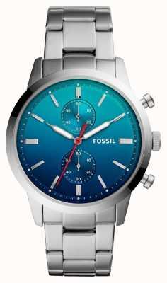 Fossil Miasteczko Mens Watch niebieski ombre wybierania bransoleta ze stali nierdzewnej FS5434