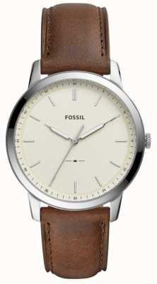 Fossil Męskie minimalistyczny brązowy skórzany pasek zegarka FS5439