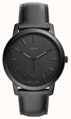Fossil Męskie minimalistyczny czarny skórzany pasek zegarka FS5447