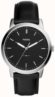Fossil Męskie minimalistyczny czarny skórzany pasek zegarka FS5398